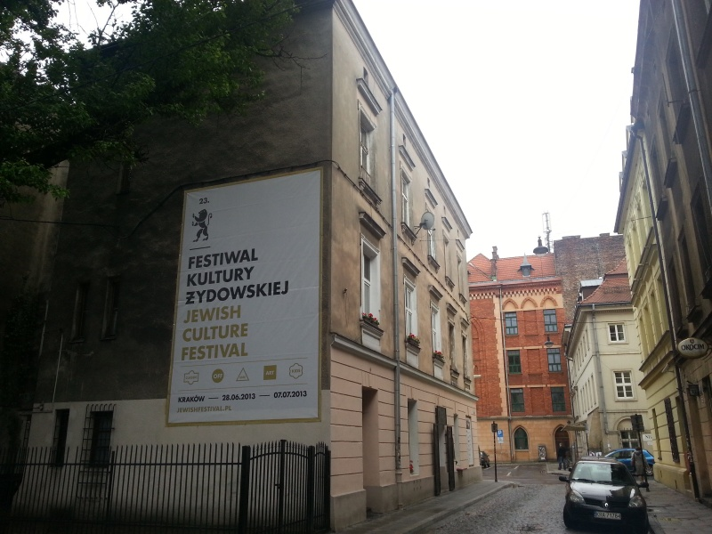 Tenement in Jakuba street, with a banner advertising the 23rd Jewish Culture Festival