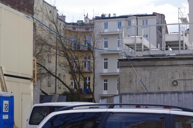 Construction of a hotel, in the background courtyard between Bożego Ciała and Krakowska street