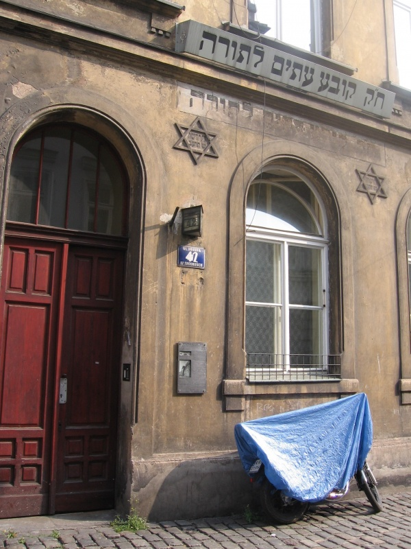 A building of a former Jewish house of prayer and learning (beit-ha midrash) on Józefa street