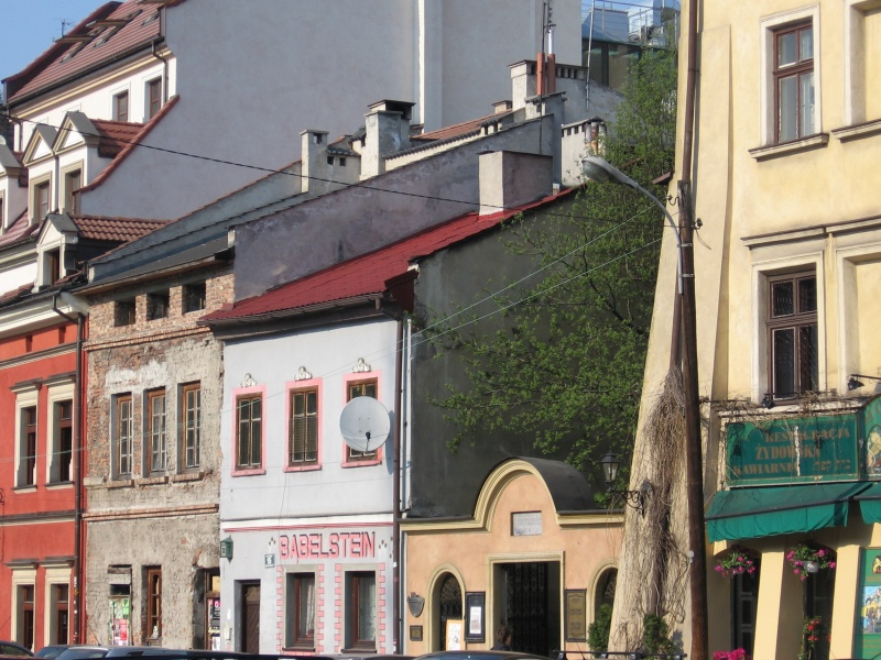 Buildings in Szeroka street, eastern frontage of the street with the entrance to Popper synagogue