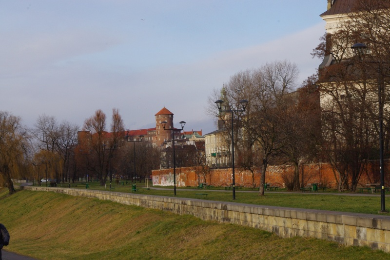 Inflancki Boulevard; on the right Pauline Fathers church in Skałka and tenements in św. Stanisława street; in the background Wawel Castle with dominant Sandomierska Keep; view towards north