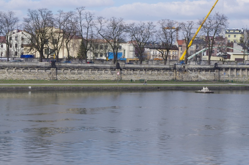 Kurlandzki Boulevard, construction site in the background, M. Okoński's sculpture of a pig on the Vistula river