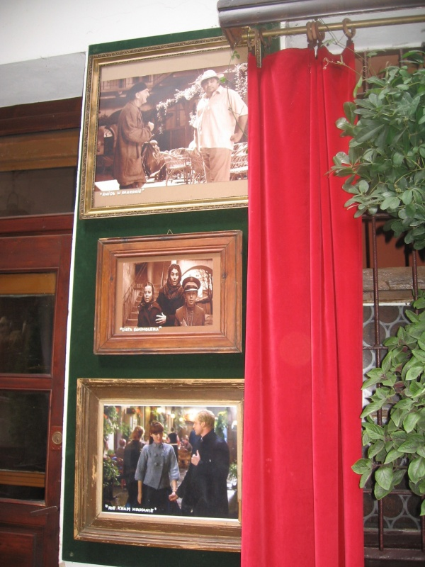 Photos of films shot in the courtyard displayed in it for visitors