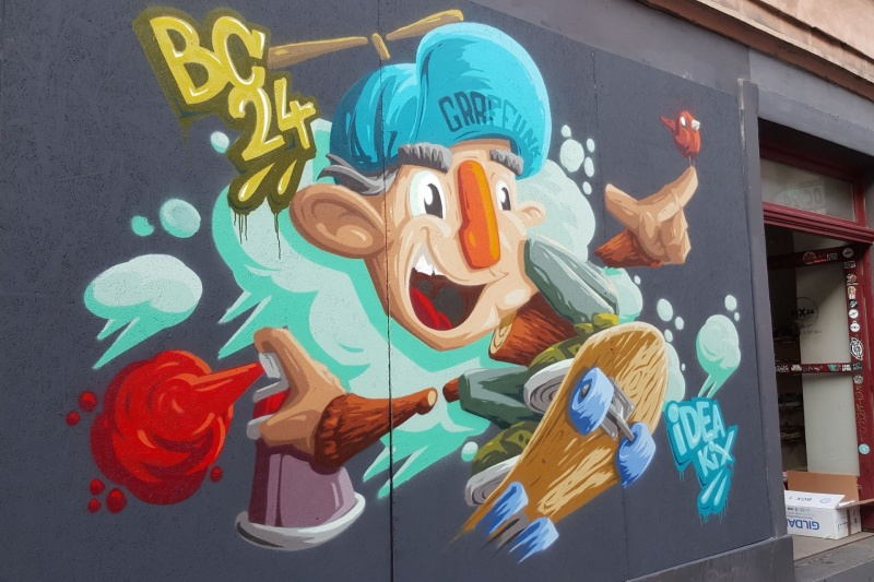 Graffiti created by Graffunk83 on the BC24 shop - a place connected with urban culture and hiphop
