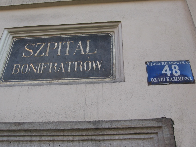 A historic sign of the Hospitaller Brothers hospital
