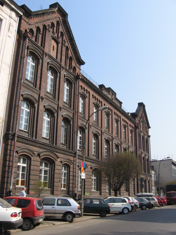Historic municipal school building on Miodowa street