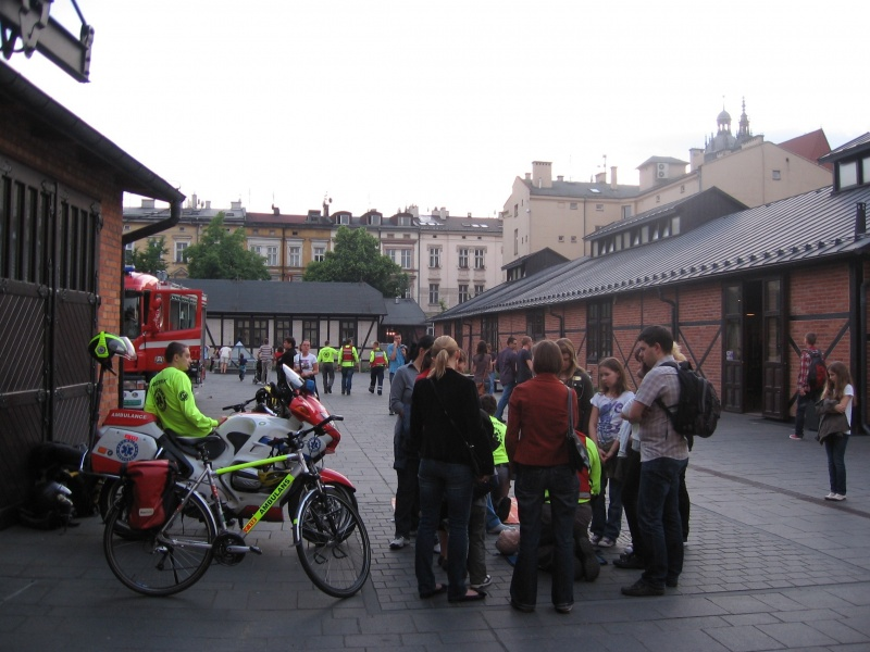 An outdoor event organised in the tram depot by the Museum of Municipal Engineering