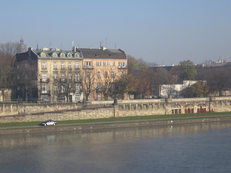 Tenement houses on Podgórska street seen from Vistula river