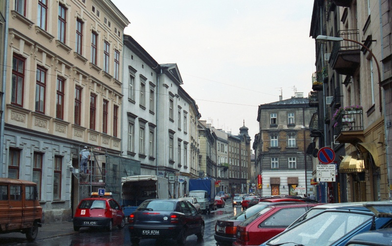 street, cars, tenements in closed coverage