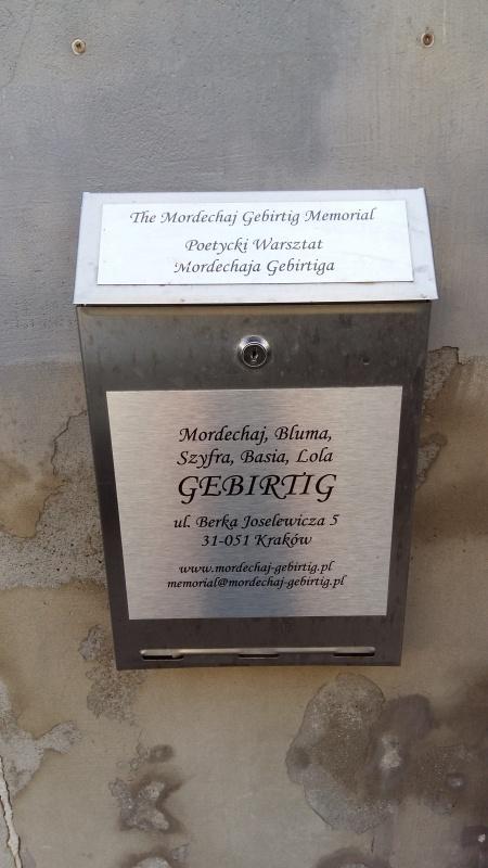 Poetycki Warsztat Mordechaja Gebertiga - skrzynka na listy