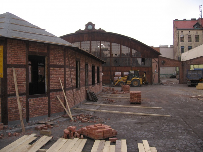 Construction and renovation work in progress - adaptation of the former tramway hall for catering and leisure functions, a view from south-east