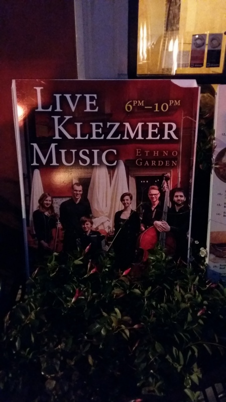 Advertisement for klezmer music concerts in Szeroka street