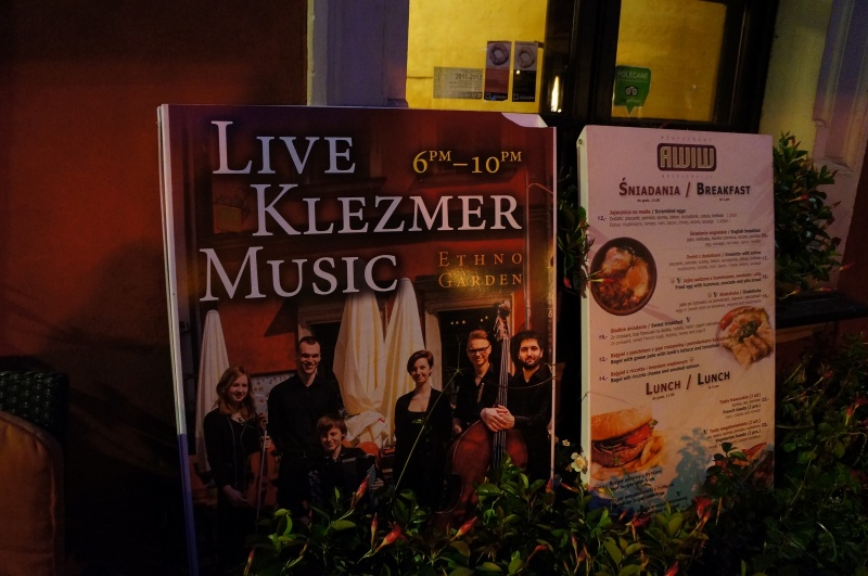 A stand advertising Klezmer music concerts
