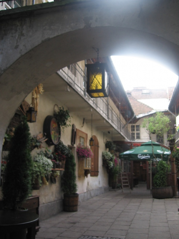 Restaurant garden in the courtyard