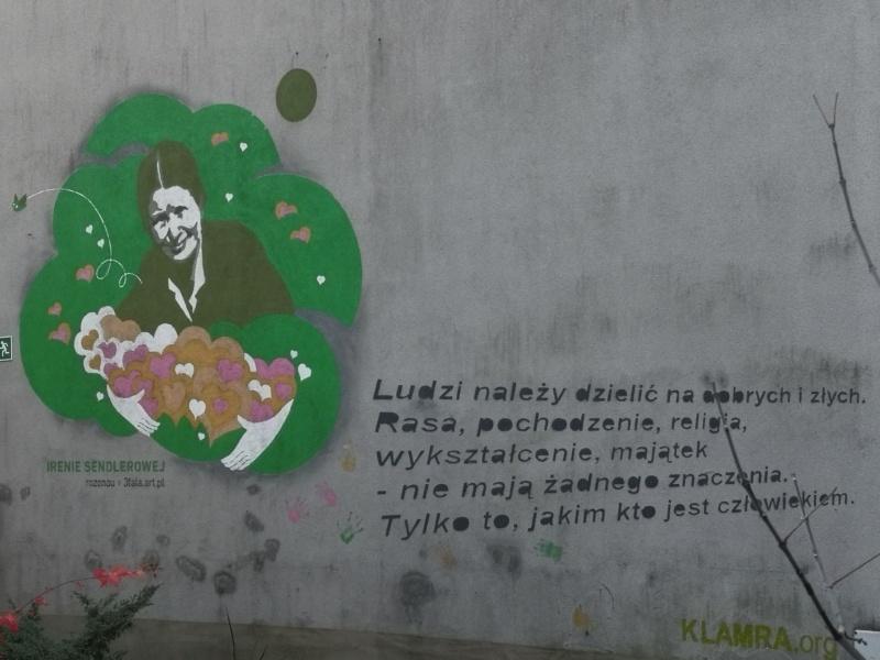 Street art antyfaszystowski - mural dedykowany Irenie Sendlerowej, wykonany przez 3fala.art.pl na zaproszenie Muzeum Żydowskiego Galicja