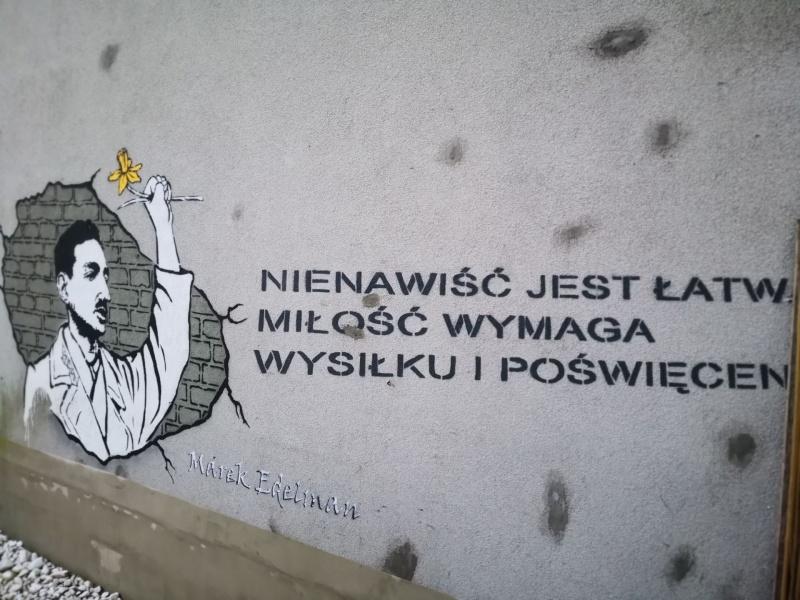 Anti-fascist street art - mural dedicated to Marek Edelman, created by 3fala.art.pl on the invitation by the Galicia Jewish Museum