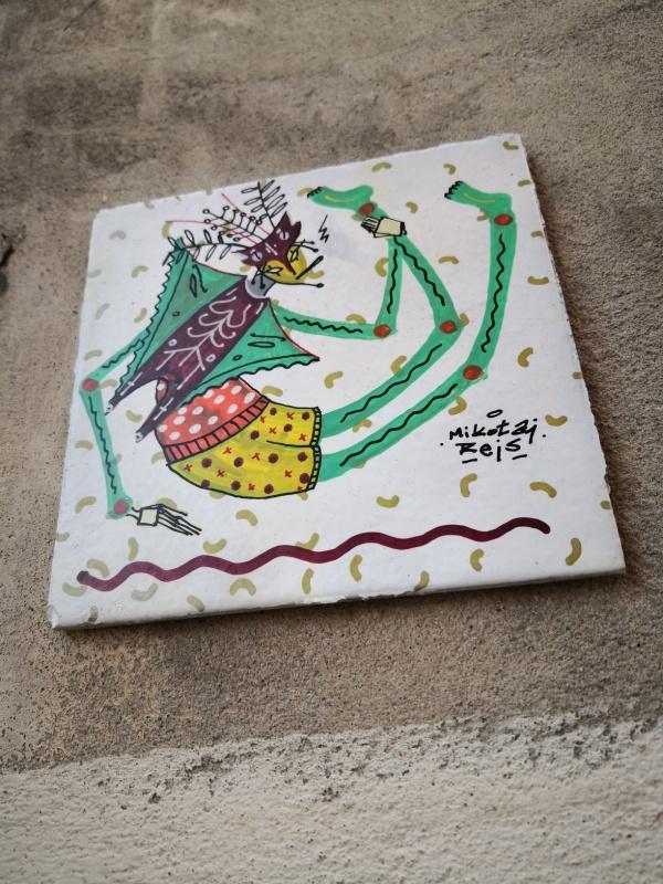 Street art wykonany przy użyciu kafelków, autorstwo: Mikołaj Rejs