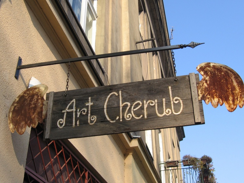 Sign of the 'Art Cherub' gallery of angel-related artifacts and souvenirs