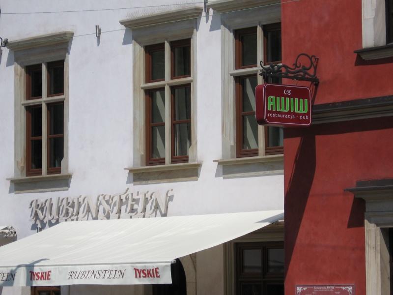Restaurant signs on Szeroka street: Rubinstein and Awiw