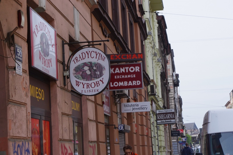 Shop signs in Starowiślna street