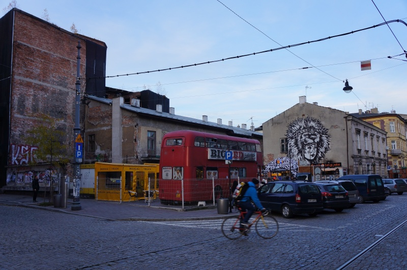 The so-called Judah square on św. Wawrzyńca street in 2016