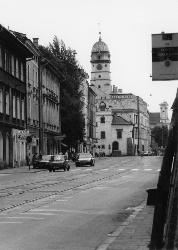 Krakowska street, view of Townhall. Low traffic. Fiat 126p, called