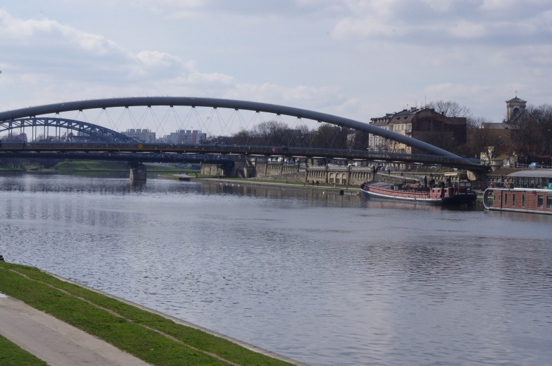 View of the Bernatek footbridge and Piłsudskiego bridge from the right bank
