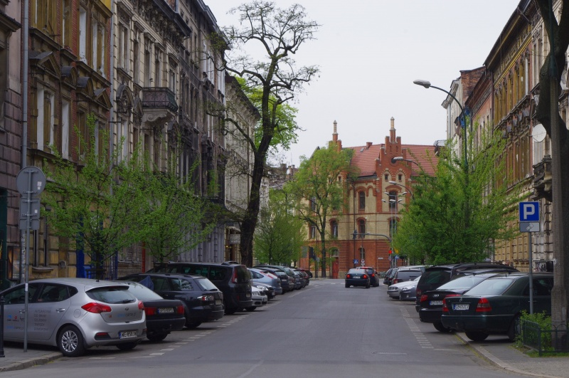 View of Sebastiana street, in the background Primary School no. 16 in Dietla street