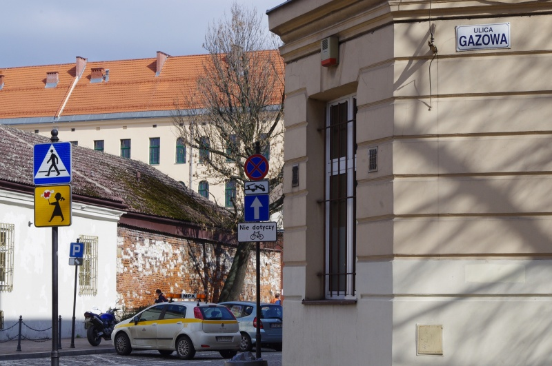 View of Wawrzyńca street from Gazowa street; in the background Secondary School No. 6