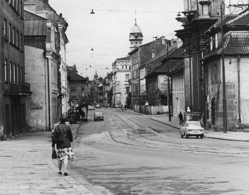 View of Krakowska street from the side of J. Piłsudskiego bridge