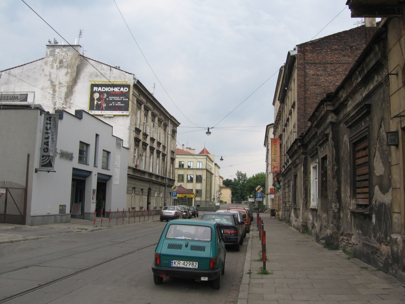 A view of a section of Dajwór street towards św. Wawrzyńca street, on the left hand side Galicia Jewish Museum