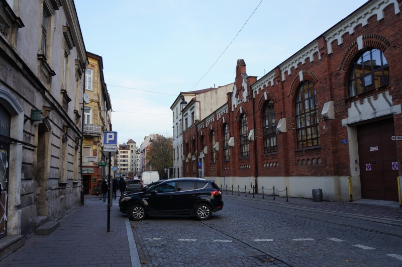 A view of św. Wawrzyńca street with the former engine-turbine hall
