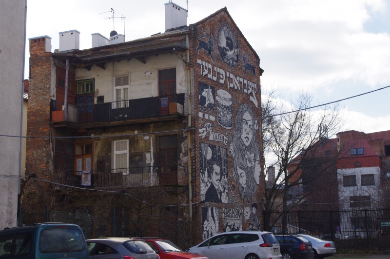 View from the car park in Dajwór street to the rear side of a tenement in Bawół street