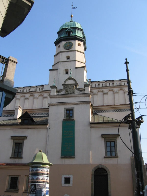 The tower of the former city hall on Wolnica Square
