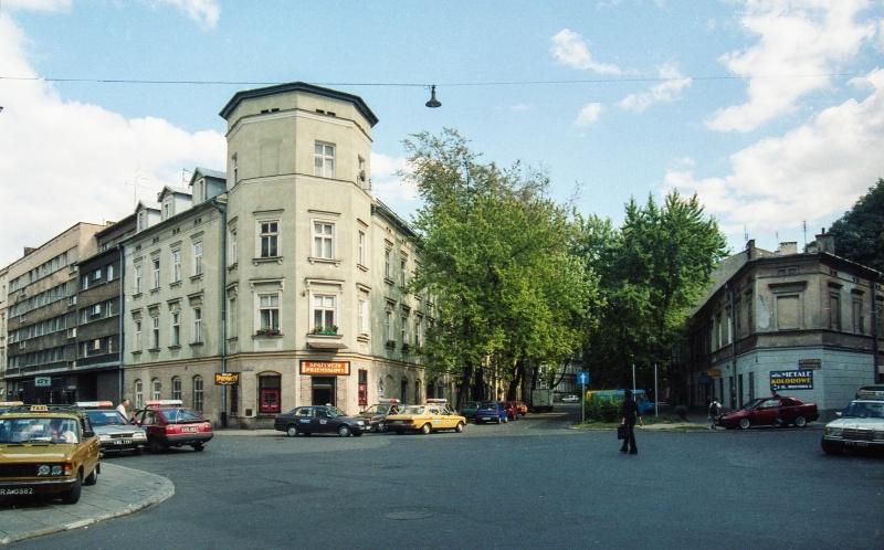 street, on the left street exit, tenement corner